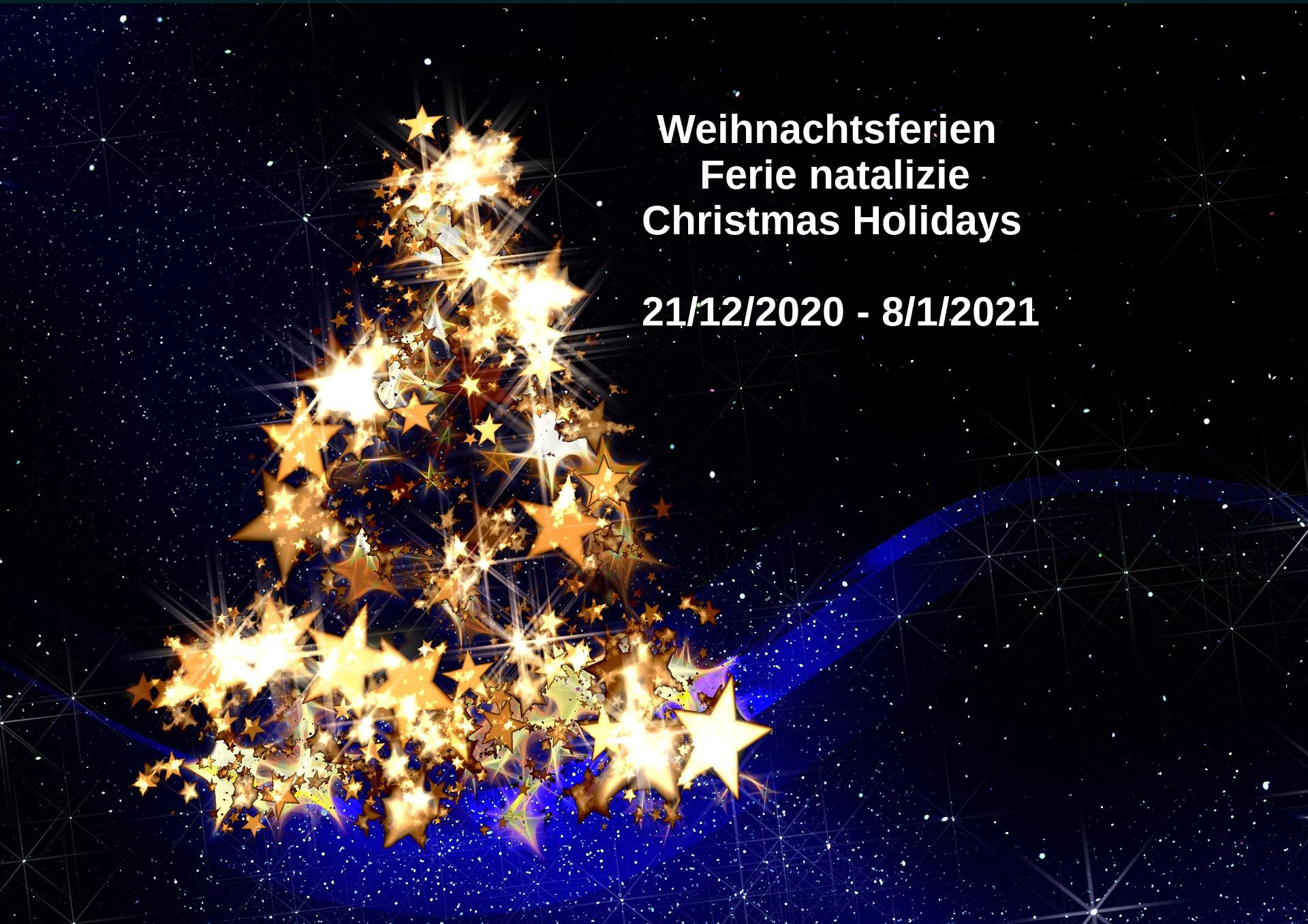 Christmas Holidays 21/12/2020 – 8/1/2021